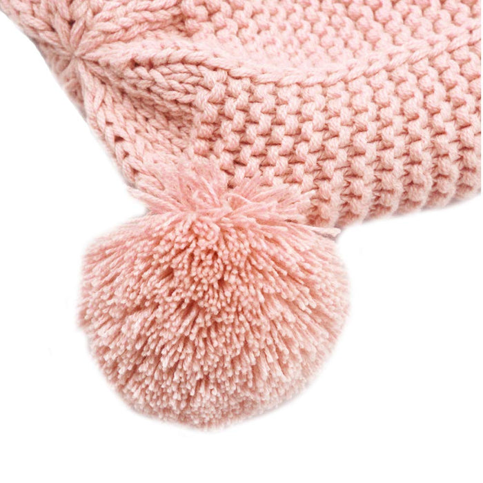 Baby Beanie Earflaps Hat, Soft Warm Knit Hat Winter Hat  for Toddler,Pink