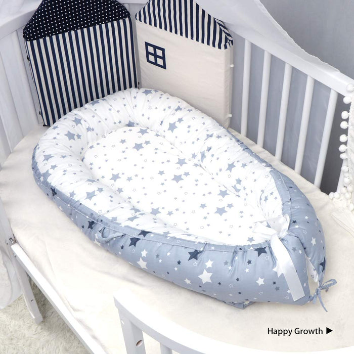 Baby Nest, Stars Printed Portable Super Soft Organic Cotton Breathable Baby Lounger
