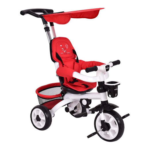 Baby Tricycle, Removable Push Handle, Adjustable Sunshade Canopy,Red