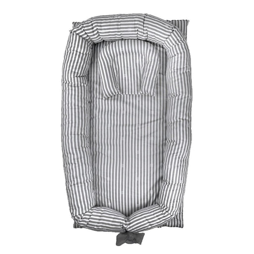 Baby Lounger, Grey Striped Baby Lounger Breathable Portable Baby Crib