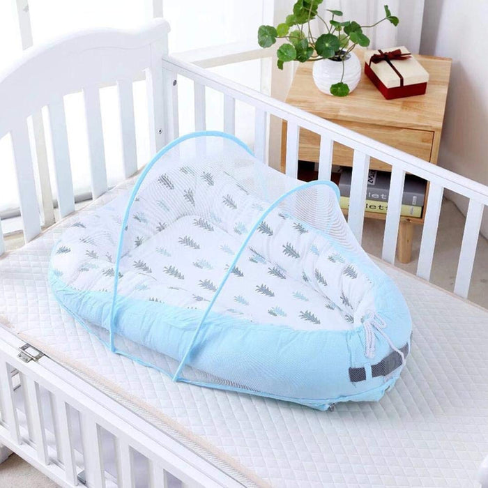 Newborn Lounger, Infants Bassinet for Bed Lounger with Mosquito Net, Blue
