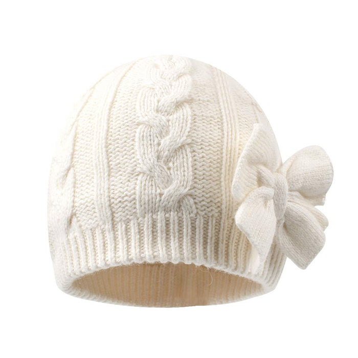 Cute Bow Knitted Baby Hat Cotton Lined for Girl, White