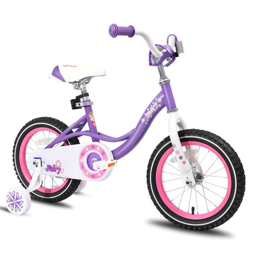 Kids Bike with Training Wheels 85% Assembled, Purple Fairy