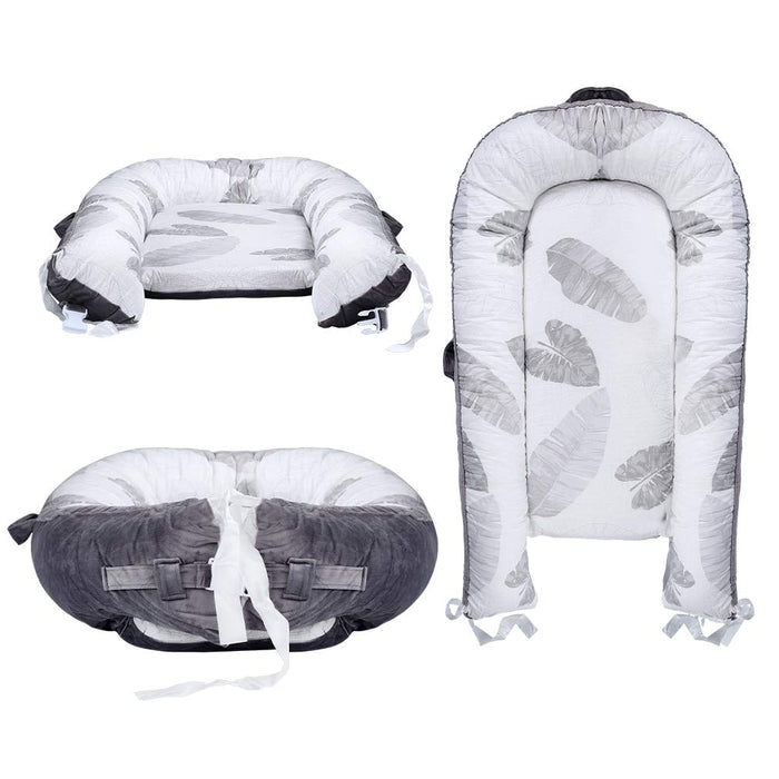 Baby Nest, Leaves Printed Portable Super Soft Organic Cotton Breathable Baby Lounger