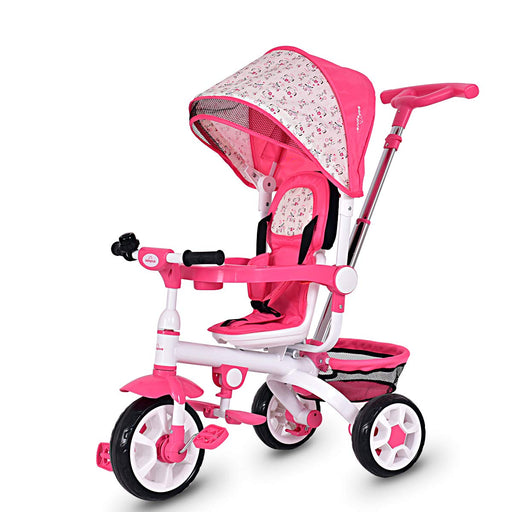 Kids Tricycle Steer Stroller with Canopy Foot Pedals, Pink