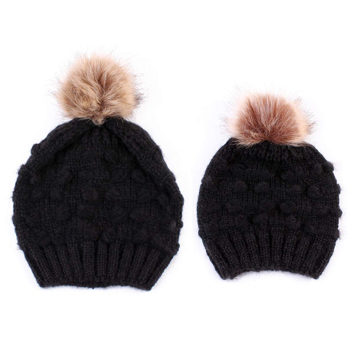 Parent-Child Knit Hat,Family Beanie with Pom Pom,2 Pcs,Black
