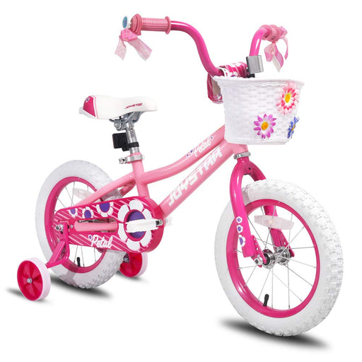 Kids Bike with Training Wheels 85% Assembled, Pink Petal