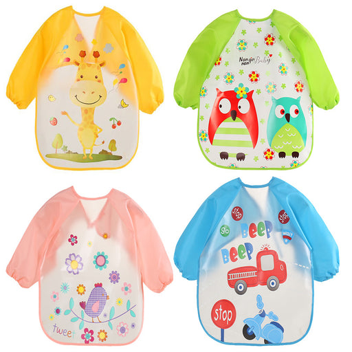 Long Sleeve Baby Bibs Waterproof Apron Feeding Smock Bib Burp Clothes Soft Eat Toddler Bib