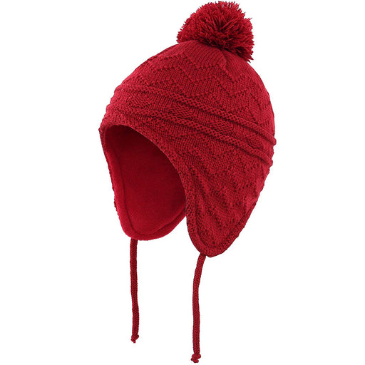 Fleece Lined Knit Kids Hat with Earflap Winter Hat for Toddler, Red
