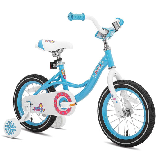 Kids Bike with Training Wheels 85% Assembled, Blue Fairy