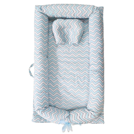 Baby Lounger, Blue Striped Baby Lounger Cotton Breathable Portable Baby Crib