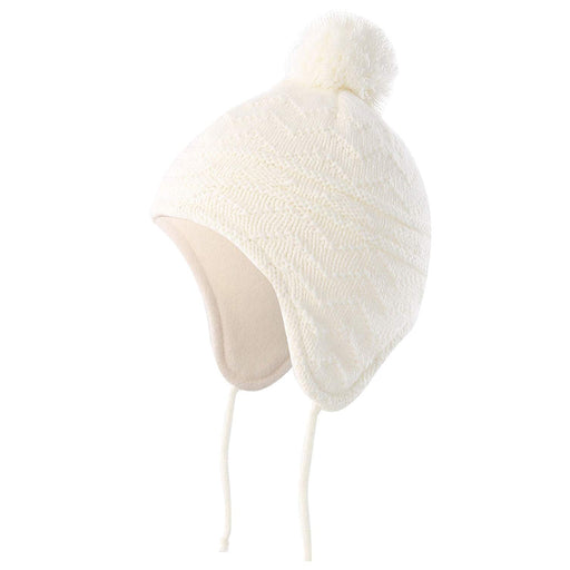 Fleece Lined Knit Kids Hat with Earflap Winter Hat for Toddler, White