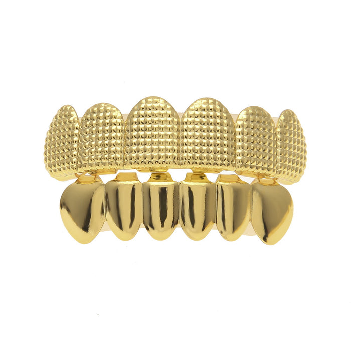 Hip Hop Men's  False Teeth Grillz Set Bump Lattice Dental Grills