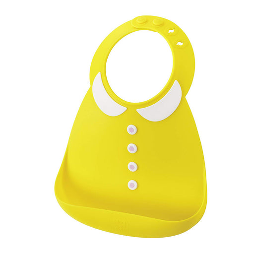Silicone Baby Bib, Waterproof Adjustable Baby Bibs with Food Catcher Pocket,Yellow Collar Pattern