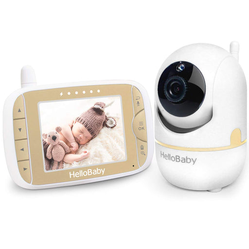 Baby Monitor with Remote Digital Camera 3.2'' LCD Screen, Infrared Night Vision, Gold
