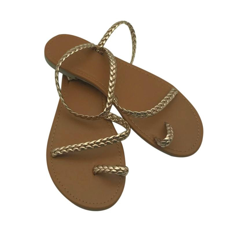 Plus Size Thong Sandals Summer Women Flip Flops Weaving Casual Beach Flat With Shoes Rome Style Female Sandal Low Heels