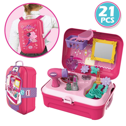 Little Girls Pretend Salon Beauty Make Up Kit for Toddlers