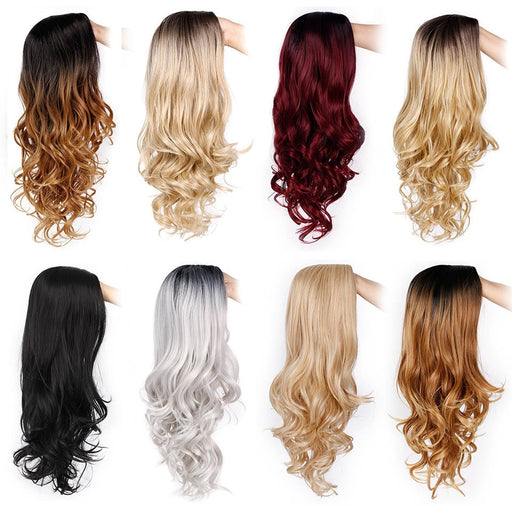 Long Ombre Brown Wavy Wig Blonde Cosplay Synthetic Wigs For Black/White Women Glueless Hair High Density Temperature AISI Beauty