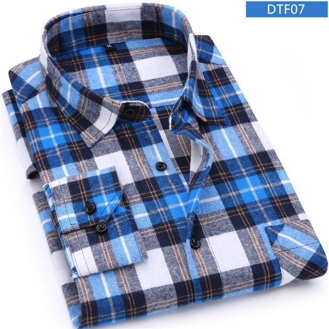 Men Flannel Plaid Shirt 100% Cotton  Spring  Casual Long Sleeve Shirt Soft Comfort Slim Fit Styles Brand Man Clothes