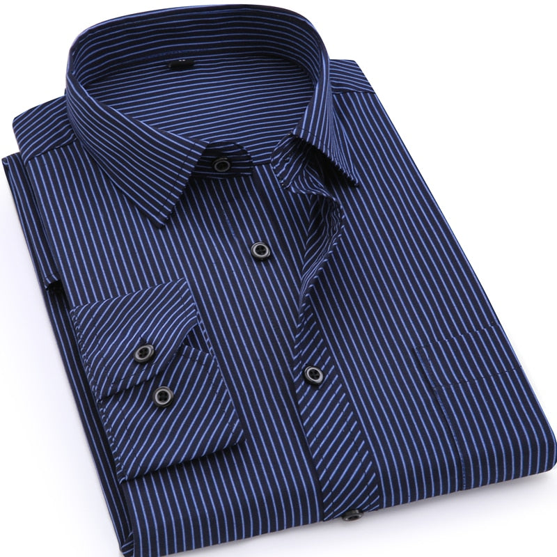 Mens Business Casual Long Sleeved Shirt Classic Striped Male Social Dress Shirts
