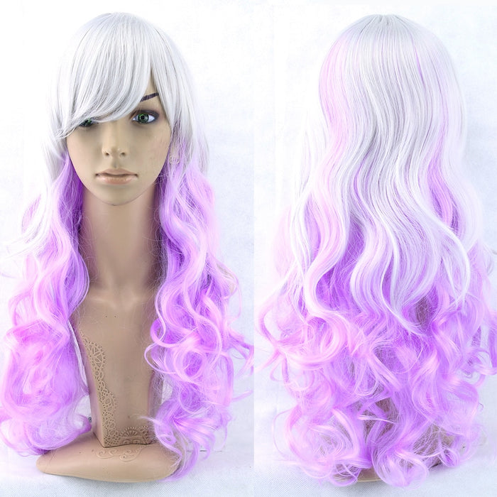 Women Hair Ombre Color High Temperature Fiber Wigs Pink Blue Synthetic Hair Cosplay Wig 70cm 28inches