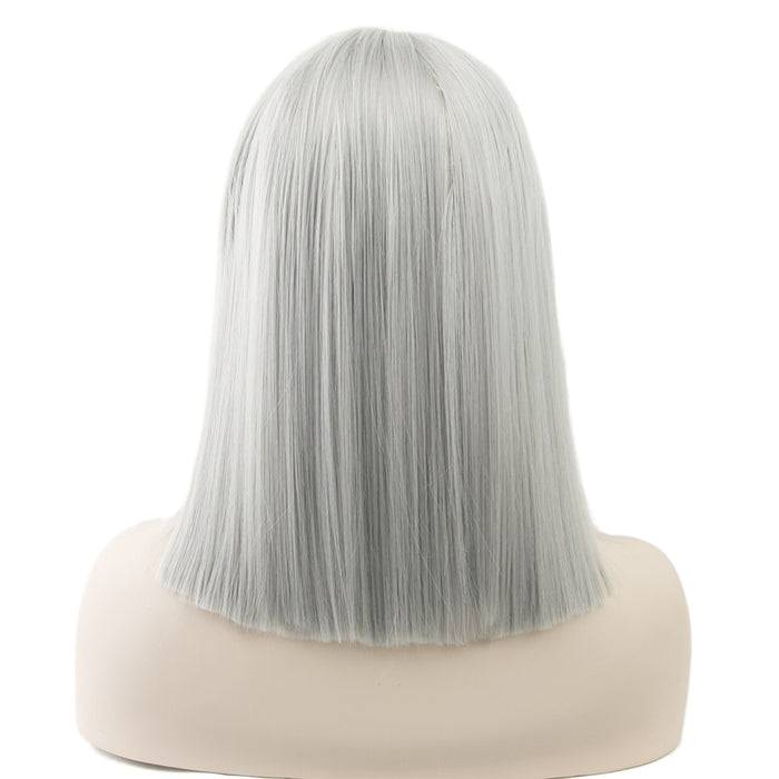 Short Straight Heat Resistant Synthetic Hair Gray Nature Black Women Party Cosplay Wigs 16inches 8 Colors