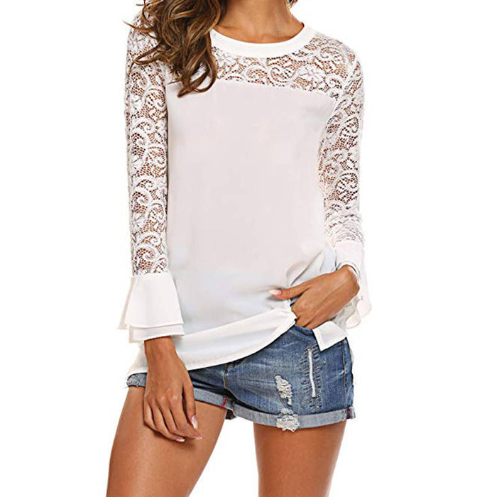 White Lace Chiffon Blouse O-neck Solid Office Shirts Tunic Ruffles Sleeve Womens Blouses Casual Loose Tops Pullover