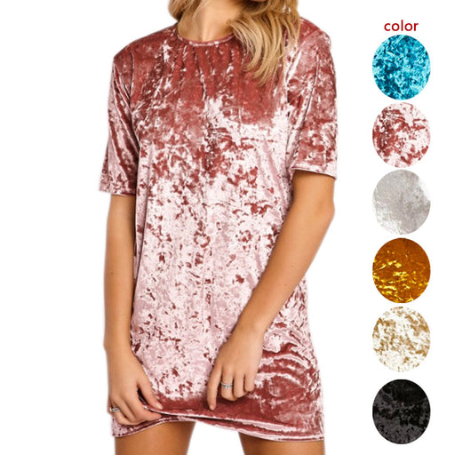 Women Elegant Dress Spring Summer Round Neck Short Sleeve Crushed Velvet Party Dresses