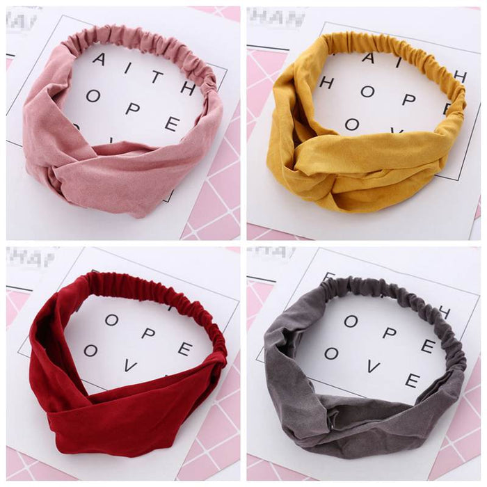 Suede Headband Vintage Cross Knot Elastic Hair Bands Soft Solid Girls Hairband Hair Accessories