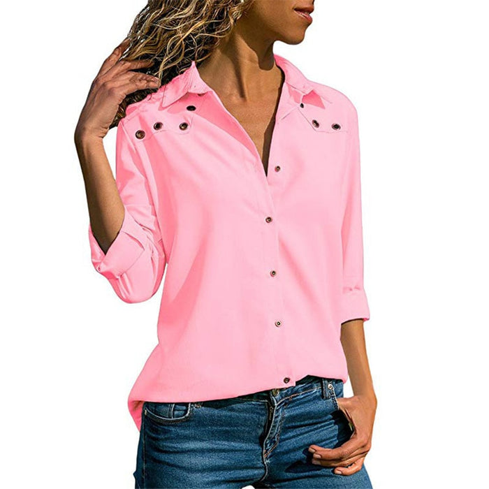 Women Tops Blouses Spring Elegant Long Sleeve Blouse Shirt Turn Down Collar Chiffon Blouse Office Shirts