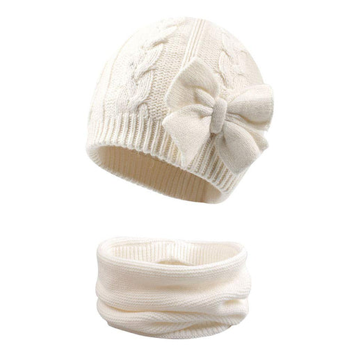 Cute Bow Knitted Baby Hat with Scarf Cotton Lined for Girl, White