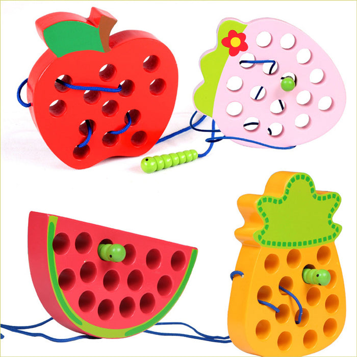 Baby Educational Toys Wooden Toys Worm Eat Fruit Apple Pear Early Trainging Patience Baby Toy