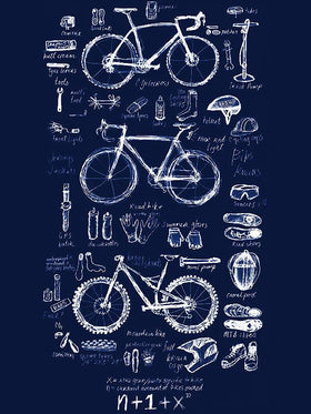 Bike Maths Mens Navy Tshirt