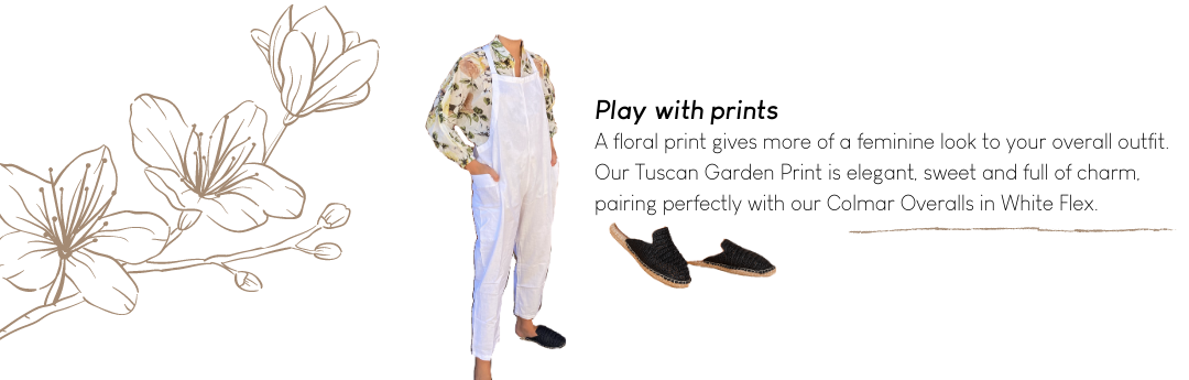 Floral Print with White Overalls