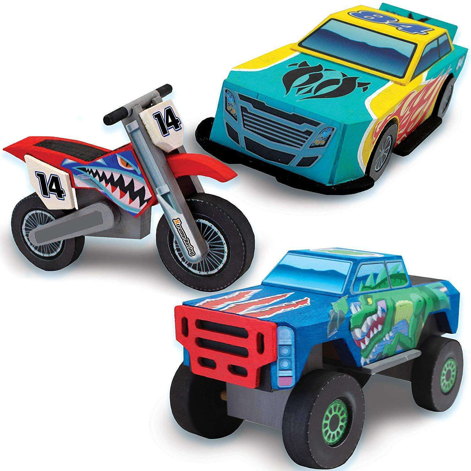 Make Your Own Car >> Klever Kits Kids Craft Kit Build Paint Your Own Wooden Race Car Art Craft Kit Diy Toy Make Your Own Car Truck Toy Construct And Paint Craft Kit