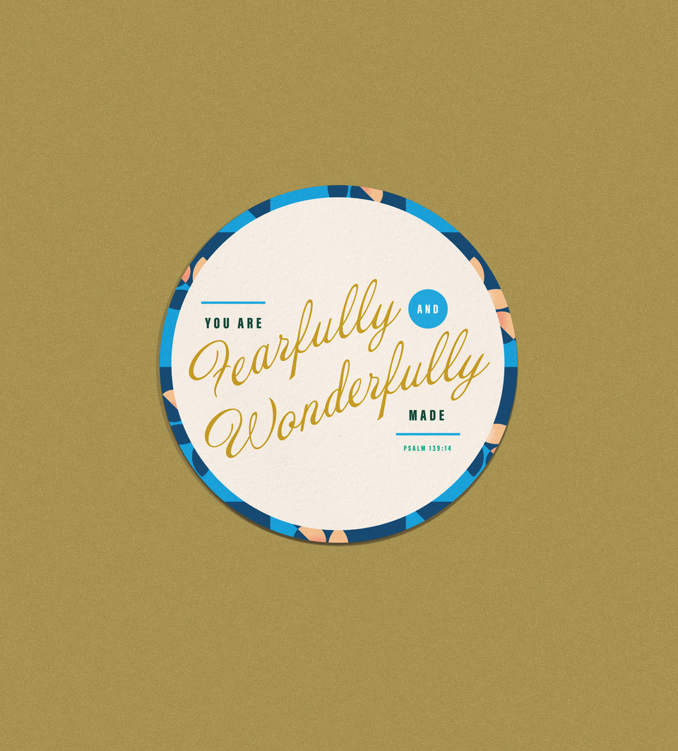 Sticker: Fearfully + Wonderfully Circle