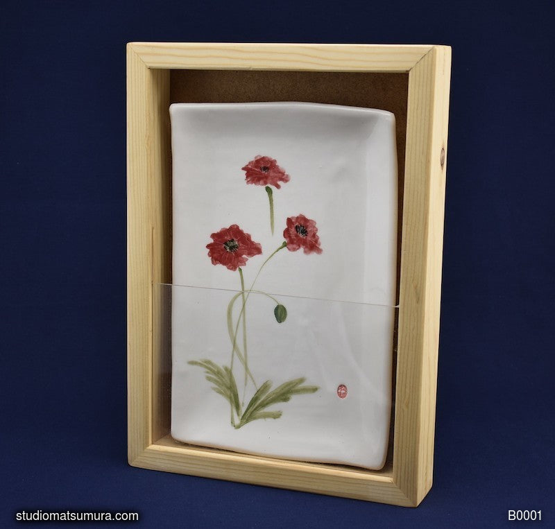 Handmade dinnerware with Sumi-e drawings of Poppy with Pine  Wood Frame