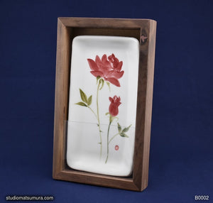 Handmade dinnerware with Sumi-e drawings of a Rose with Walnut Wood Frame