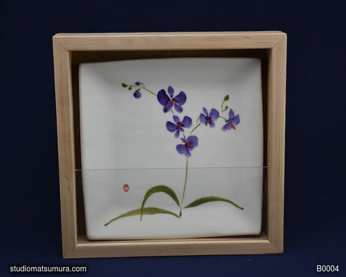 Handmade dinnerware with Sumi-e drawings of  an Orchid with Maple Wood Frame