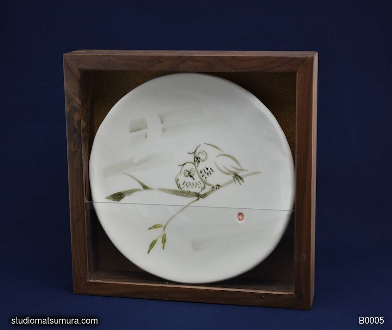 Handmade dinnerware with Sumi-e drawings of an Owl with Walnut Wood Frame
