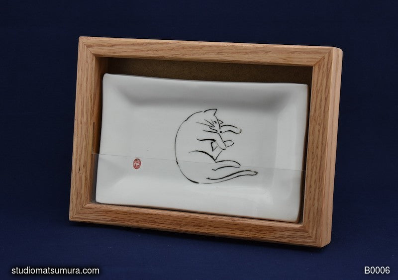 Handmade dinnerware with Sumi-e drawing of Cat with Oak Wood Frame