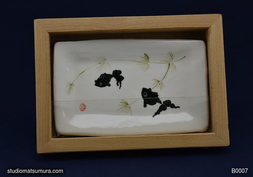 Handmade dinnerware with Sumi-e drawing of a Goldfish with Alder Wood Frame