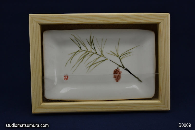 Handmade dinnerware with Sumi-e drawing of a Pinecone with Pine Wood Frame