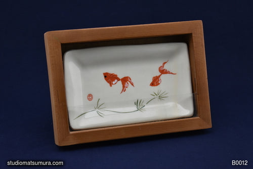 Handmade dinnerware with Sumi-e drawing of a Goldfish with Cherry Wood Frame