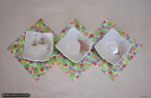 Handmade dinnerware.  Three Origami Bowl set.  Light color., another image