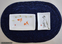 Load image into Gallery viewer, Another angle of  Handmade dinnerware with Sumi-e drawings of a Goldfish