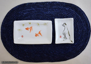 Another angle of  Handmade dinnerware with Sumi-e drawings of a Goldfish