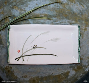 Another angle of  Handmade dinnerware with Sumi-e drawings of cricket and bamboo frame
