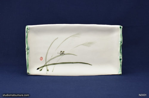 Handmade dinnerware with Sumi-e drawings of cricket and bamboo frame