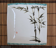 Load image into Gallery viewer, Another angle of  Handmade dinnerware with Sumi-e drawings of a Bamboo with decoration trim